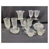 12pc Vintage Fostoria American Pattern Glass