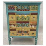 Teal Paint Decorated Accent Chest