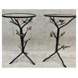 Pair of Metal and Glass Bird Accent Tables
