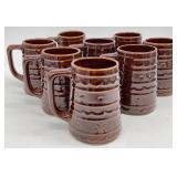 8pc Brown Ceramic Mugs Marked USA