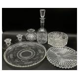 Crystal(?)/Glass Serving Items, Decanter & More