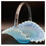 Fenton(?) Blue Vaseline Hobnail Opalescent Basket