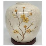Vintage Painted Asian Vase on Stand