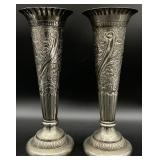 Pair of Silver Plated Decorative Vases