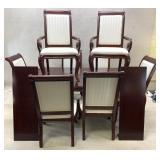 Mahogany Finish Table & 8 Chairs
