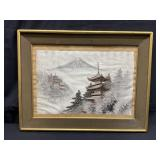 Vintage Japanese Silk Tapestry Embroidery Mt Fuji