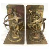 MCM Brass Armillary Sundial Bookends