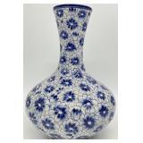Blue and White Floral Porcelain Vase