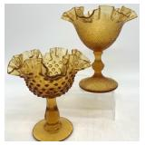 Fenton Amber Art Glass Footed Compotes