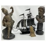 2pc Bronze Statues, Brass Lion and Metal Ship