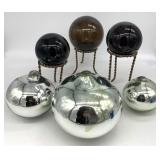 6pc Art Glass Spheres with 3 Stands