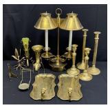Large Vintage Brass Lot w/Double Arm Lamp