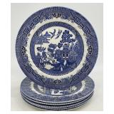 6pc Royal Wessix Blue Willow Plate Set