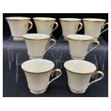 8pc Set of Lenox Eternal Porcelain Coffee Cups