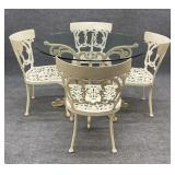 42in Glass Top Metal Table and Chairs