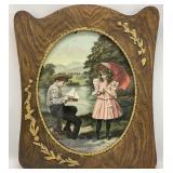 Antique Art Print in Gilded Burl Wood Frame