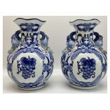 Pair Blue & White Ceramic Vases