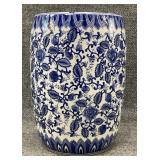 Blue and White Ceramic Garden Stool