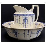 Antique Minton Large Wash Bowl & Pitcher