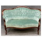 Green Button Tufted Victorian Settee B
