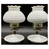 Pair Milk Glass Lamps