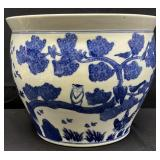 Blue and White Chinoiserie Fish Bowl Planter