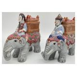 Pair Asian Elepahant Planter / Candle Holders
