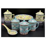 7pc Asian Decorated Mugs, Bowl & Spoon