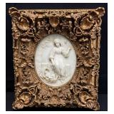 Marble Cast Plaque in Ornate Frame