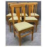 Set of 6 Antique Oak Dining Chairs
