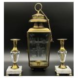 Brass Hanging Lantern & Marble Base Candlesticks