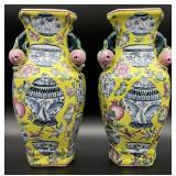 Pair of Yellow Chinoiserie Vases