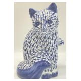 Blue and White Cat Statue Figurine