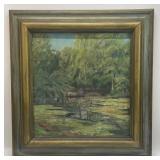 Antique Landscape Oil on Canvas Framed Art