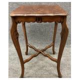Antique Walnut Scallop Edge Accent Table