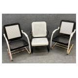 Three Vintage Metal Patio Chairs