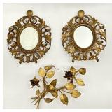 Antique Brass Mirrors & Wall Flowers