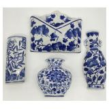 4pc Blue & White Porcelain Wall Pockets