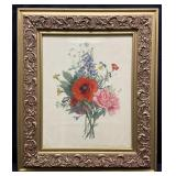 Floral Art Print in Ornate Frame