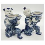 Pair Blue & White Asian Figurine Planters