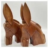 Pair of Wooden Mexican Burro Book Ends