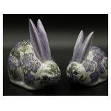 Pair Hand Painted Asian Rabbit Figurines