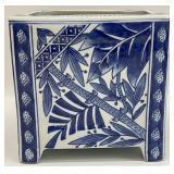 Blue & White Asian Style Cube Planter