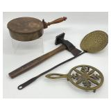 Antique Bed Warmer, Ladle, Trivet & More