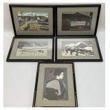 5pc Kiyoshi Saito Japanese Art Prints