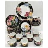 Fitz & Floyd Black Rim Floral Porcelain China