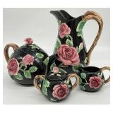 Fitz and Floyd Black Floral Pottery Set