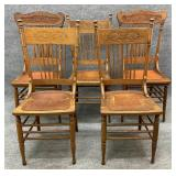 Lot of 5 Antique Oak Leather Seat Chairs