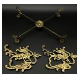 3pc Pair Asian Brass Dragon Trivets & Stand