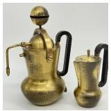 2pc Mid Century Italian Brass Espresso Set